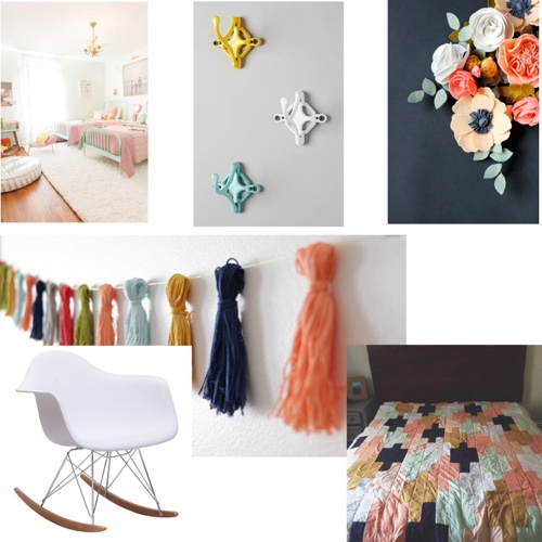 Pastel and navy mood board