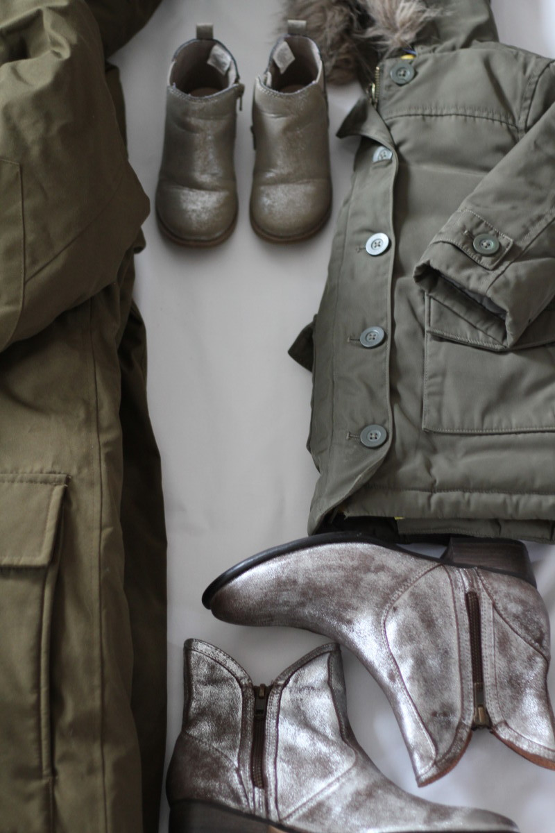 Mother daughter olive jacket and metallic boots - www.merrygolden.com